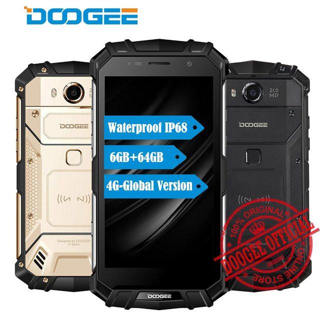 "DOOGEE S60 IP68 Waterpoof пыле мобильного телефона 5580 mAh 6 ГБ + 64 GB 5,2 ""FHD Helio P25 Восьмиядерный 21MP face ID 4G Global смартфон"