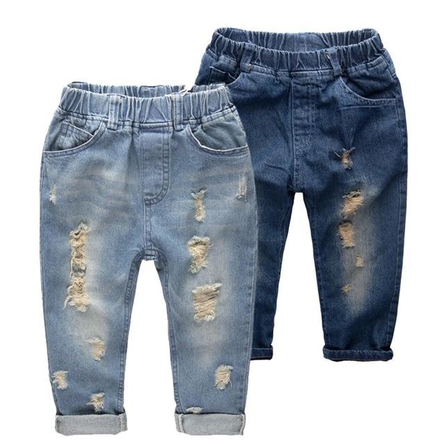 Children boy jeans pants 8-14 years kids big children boy casual denim distrressed  hole trousers  retail autumn style