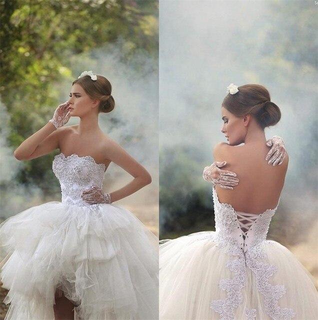vestido de noiva Lace High Low Appliques Bridal Princess Tulle Arabic Modest Wedding Gowns New Hot Corset Back Dress 2016