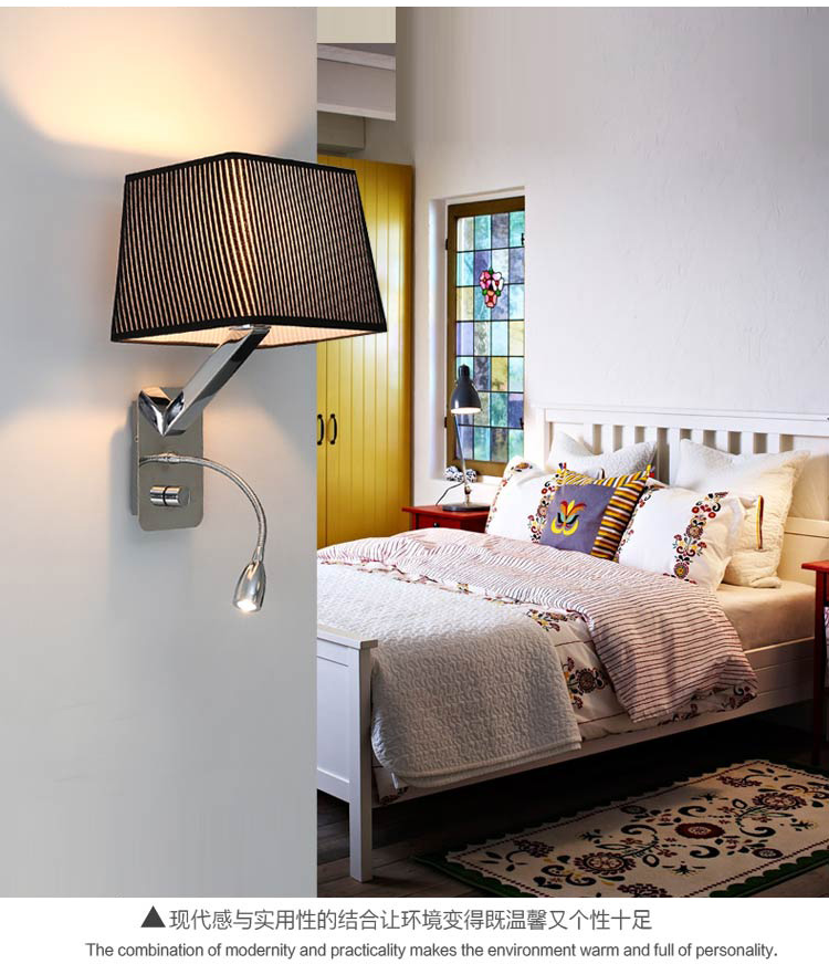 creative fabric wall sconces band switch modern led reading wall light fixtures for bedroom wall lamp