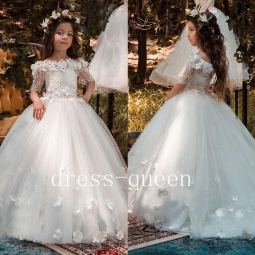 Adorable 3D Floral Appliques Flower Girl Dresses Ivory Lace Teens Pageant Dress Princess Dress
