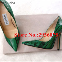 Green Mixed Color Embossed Python Leather Dress Ladies Shoes Pointed Toe Shallow Stiletto Heels Slip On