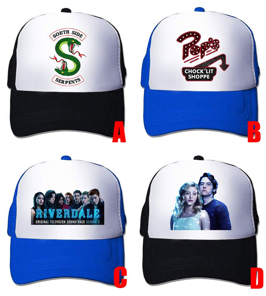 Riverdale Archie Betty Serpents Black Blue Mesh Cap Trucker Cap Baseball Cap Hat Cosplay Costume Unisex Gift New