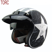 free shipping tanked racing 3/4 open face vintage motorcycle helmet retro scooter helmet