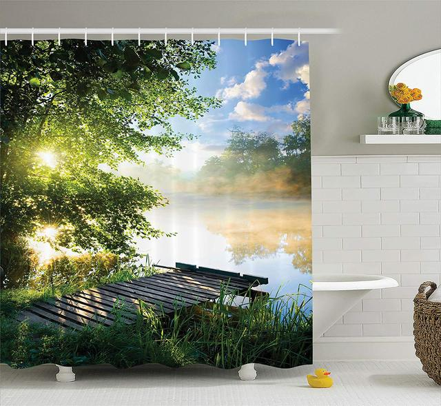 House Decor Shower Curtain Fishing Pier By River In The Morning Light With Clouds And Trees Nature Image Fabric Bathroom