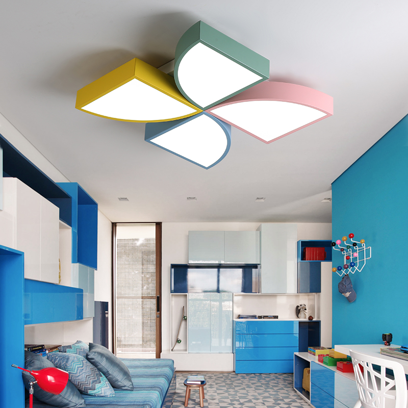 Dx Modern Led Ceiling Light Windmill Fixture Kids Room Lights Lamp Remote Control Macaron Toy Brick Luminaire Dimmable Er