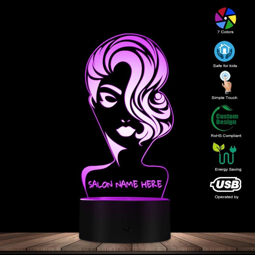 Custom Name Beauty Salon 3D LED Night Light Hair Salon Fashion Girl Personalised 3D Night Lamp Hairdresser Haircut LED Desk Lamp