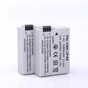 Image 4 - 2 قطعة 1800 مللي أمبير LP E8 LPE8 LP E8 بطارية الكاميرا Bateria Batterie AKKU + LCD USB شاحن مزدوج لكانون EOS 550D 600D 650D 700D