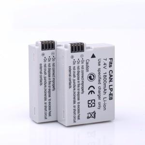 Image 4 - 2ピース1800 mah lp e8 lpe8 lp e8カメラバッテリーbateriaのbatterie akku +液晶usbデュアル充電器用キヤノンeos 550d 600d 650d 700d
