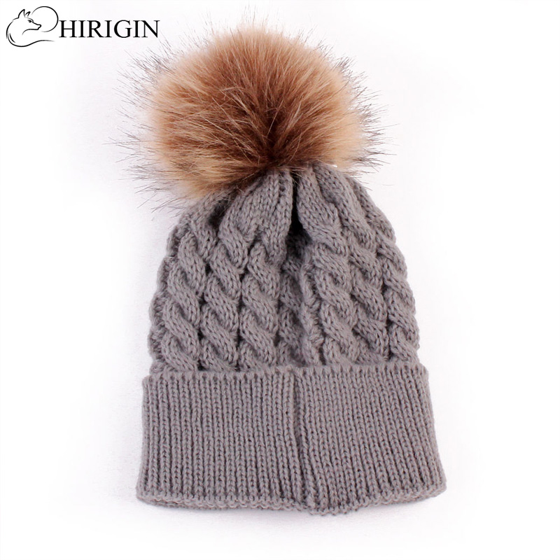 HIRIGIN 2017 Baby Toddler Girls Boys Warm Winter Knit Beanie Fur Pom Hat Crochet Cap 5 Colors Crochet Ski Ball Cap