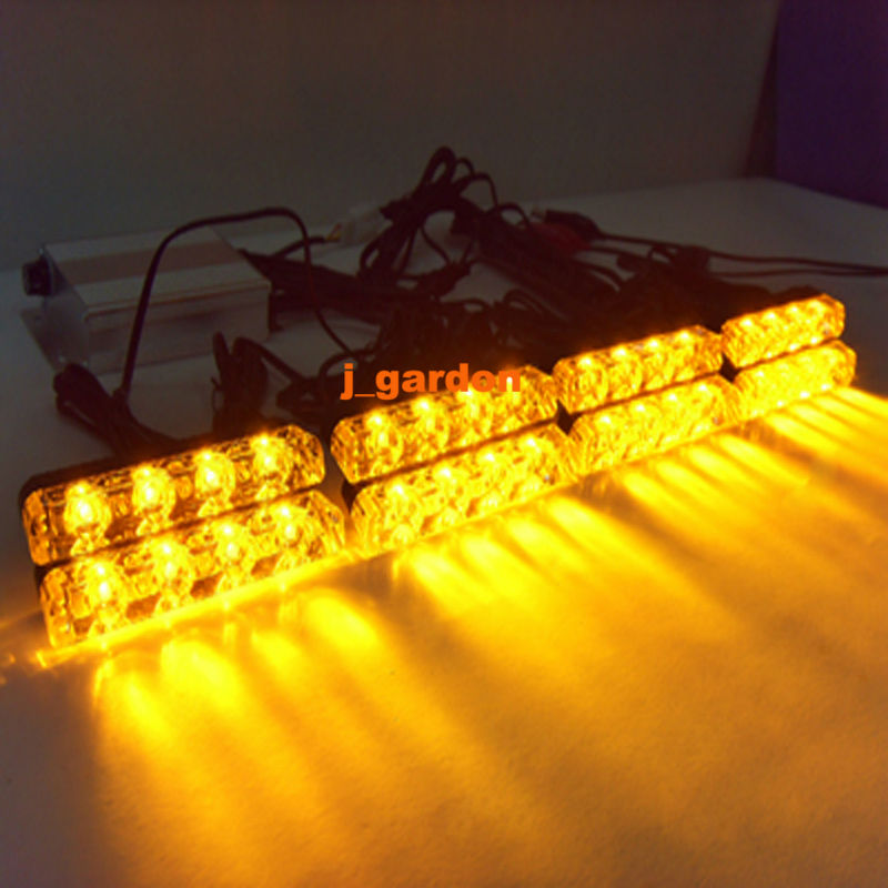 VSLED 8 x 4 LED Emergency Lights Grill Light Car Truck Beacon Light Bar Flashing Strobe Warning Amber LED LightBar