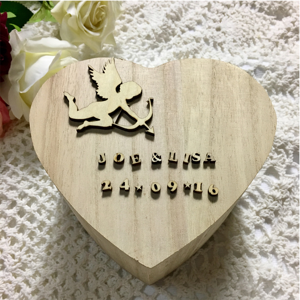 Personalised 3D Name and Date ,60pcs wooden heart + Wedding box for ...
