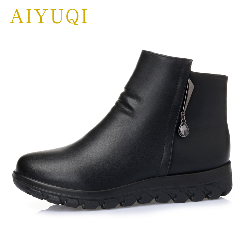 8f5f54af38d8f ... AYUQI women winter boots. 2018 new genuine leather female ankle boots.  warm flat large ...