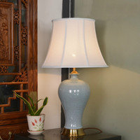 High End Classical European Handmade Chinese Ice Cracked Ceramic Led E27 Table Lamp For Living Room