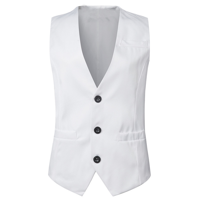 Thorndike Bridegroom Style Solid White Colors Pure Color Vest With V Style Lapel White Black Classic Style Cheap Vest(China)
