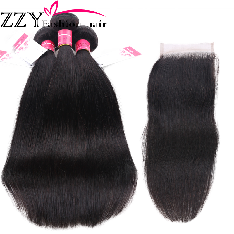 Hair-Bundles Closure Brazilian-Hair ZZY Fashion Straight With Weave Non