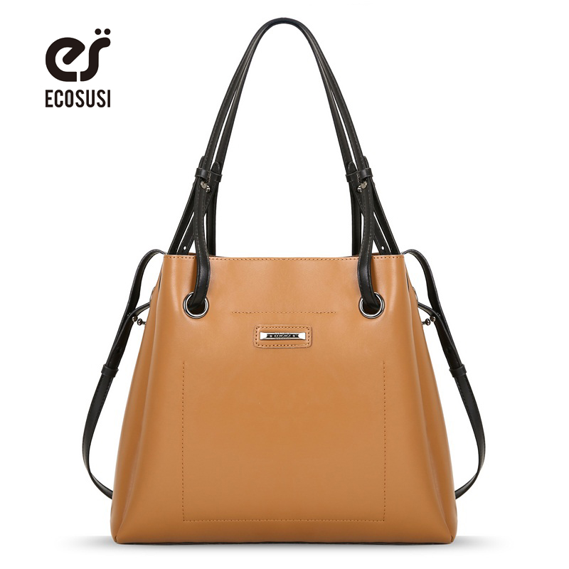 ECOSUSI New Fashion Women PU Leather Handbags Vintage Pu Leather Messenger Bags Shoulder Bags Tote Bag Bolsas Femininas fashion small bag women messenger bags soft pu leather handbags crossbody bag for women clutches bolsas femininas dollar price