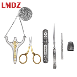 LMDZ 5Pcs/ Set Vintage Silver and Gold  Antique Crafts Embroidery Sewing Scissors Gift Thimble Needle Case Awl Tailor's Scissors