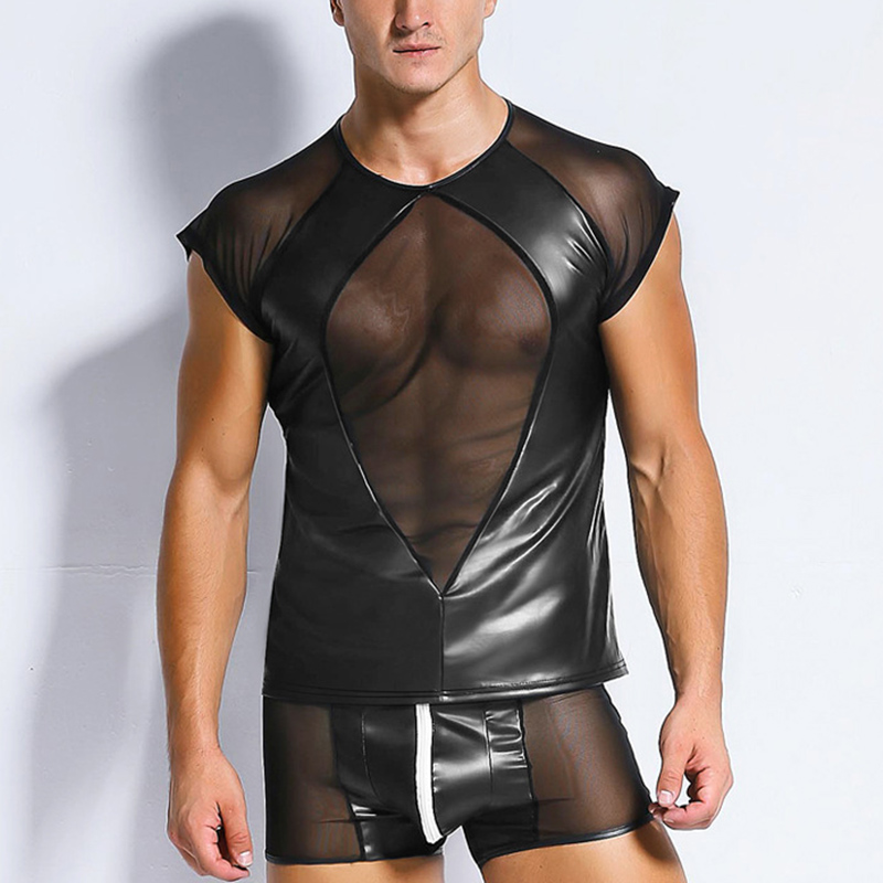 Wetlook Leather Mens T Shirt Tshirts Sexy Men See Through Mesh Patchwork Tees Tight Shirts Funny Undershirts Gay Fitness Tops