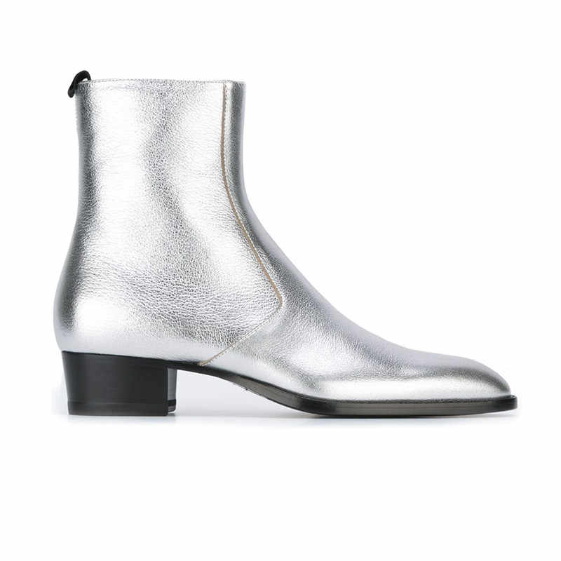 fa6641c10939 ... Metallic Gold Silver Soft Leather Pointed Toe Anke Boots Stacked Chunky  Heel Chelsea Boots Street Fashion ...