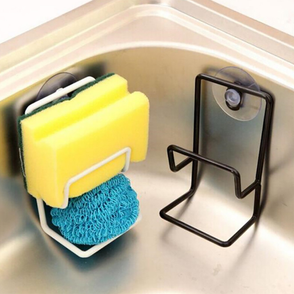 Kitchen Suction Cup Base Brush Sponge Sink Towel Rack Washing Black Holder Dropshipping Feb28