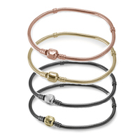 100% 925 Sterling Silver Bracelet Engraved LOGO Black Silver Oxide Rose Gold Snake Bone Bracelet Basic Chain Fit Charm Beads