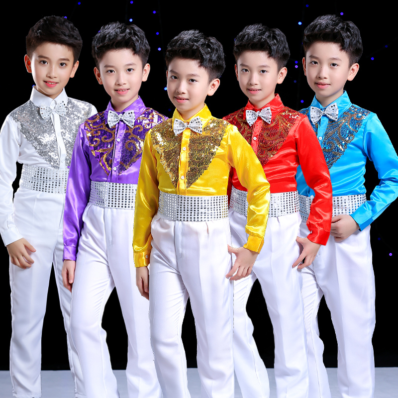 New Fashion Boys Hip Hop Costume Children Colourful Jazz Sequin Shirts Suit Stage Outfits Kids Street Dancing Performance Wear Dnv10646 Buy One Give One Home