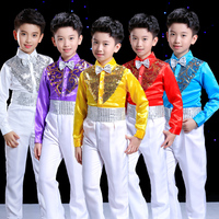 Boys Hip Hop Costume Sequin Shirts White Pants Suit Jazz Costumes Kids Stage Dancing Outfit Children Street Show Wear DNV10645