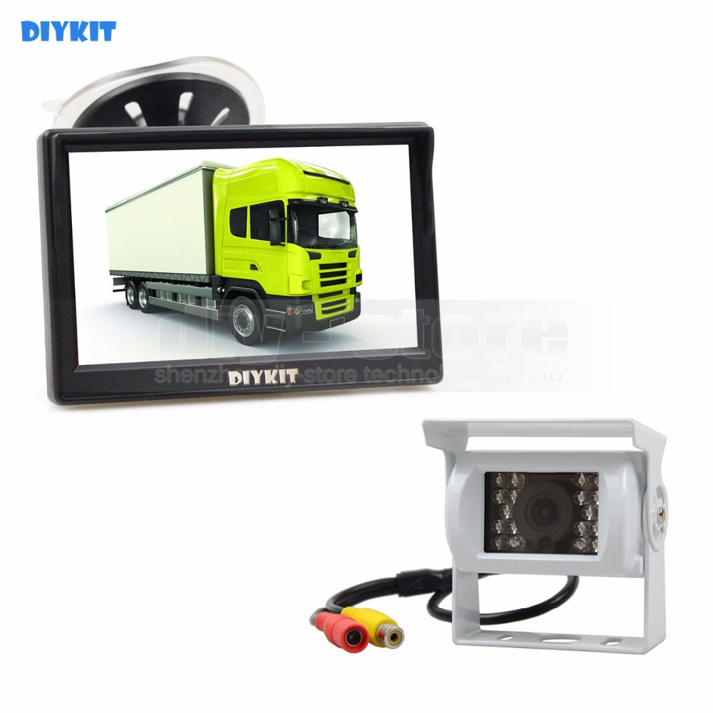 DIYKIT White Waterproof Color CCD Reverse Backup Car Truck Camera IR Night Vision + 5 inch LCD Display Rear View Car Monitor diykit ir night vision ccd rear view car camera white 7 inch hd tft lcd car monitor reverse rear view monitor screen