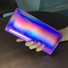 AOEO Long Female Wallet Hologram Bag Colorful Design Ladies Money Clutch Purse Gift Girls Cute Holographic Wallets For Women