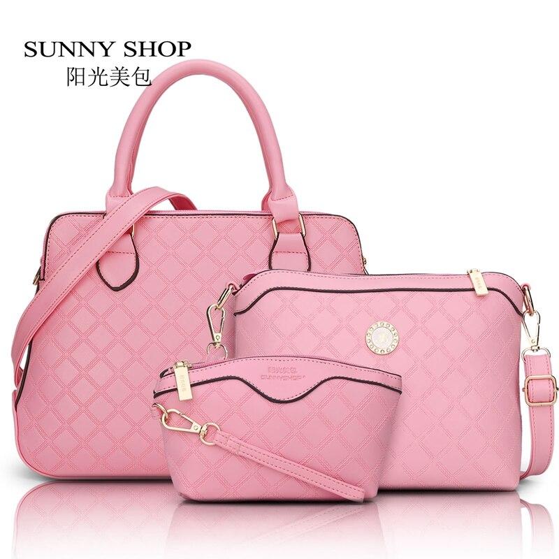 ФОТО SUNNY SHOP 3 Bag/Set  Brand Designer Women Bag Plaid Fashion Femal Shoulder Bag High Quality Lady Messenger Bag Pink Color 45ZY