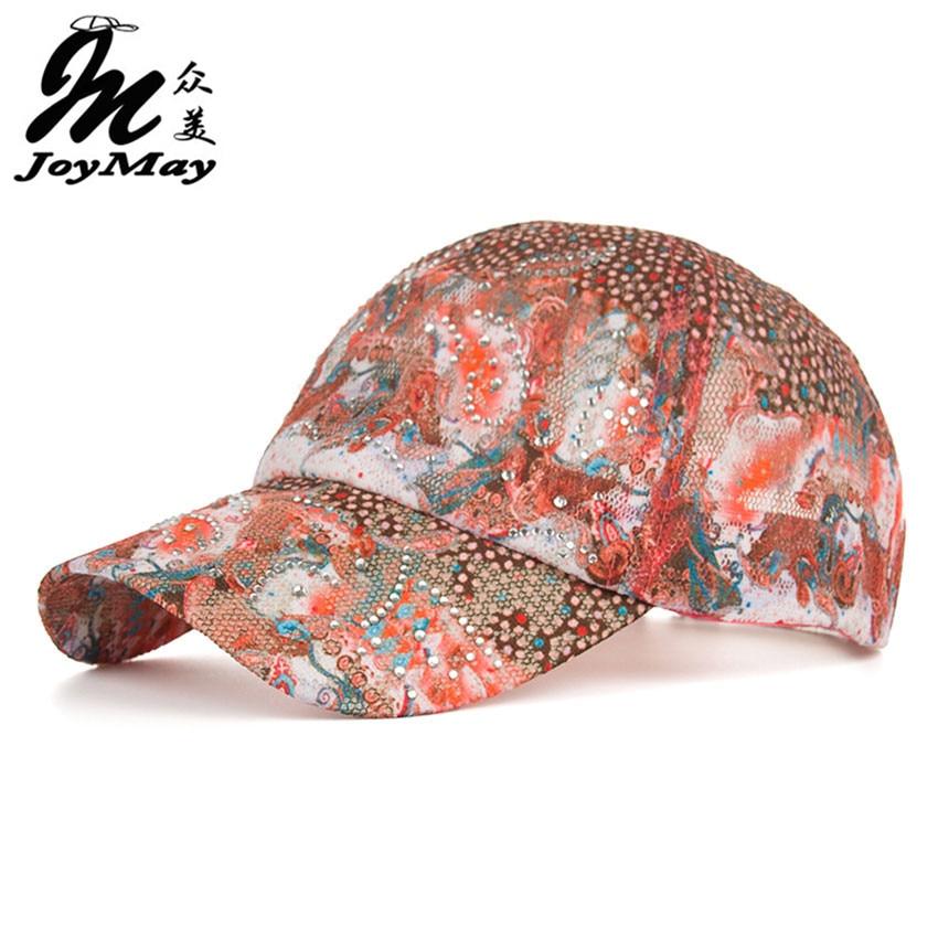 2016 New Arrival high quality fashion Women cap Colorful flower rhinestone Baseball Cap snapback Adjustable Mesh Sunhat B343