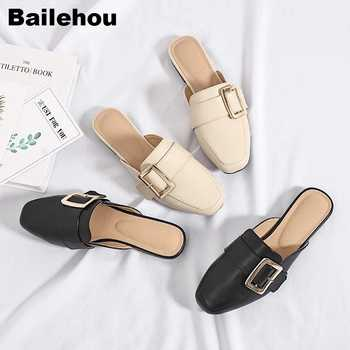 Women Slippers Flat Causal Mules Metal Buckle Platform Sandals Women Summer Shoes Big size 41-43 Slipper Low Heel Ladies Shoes - DISCOUNT ITEM  41% OFF All Category