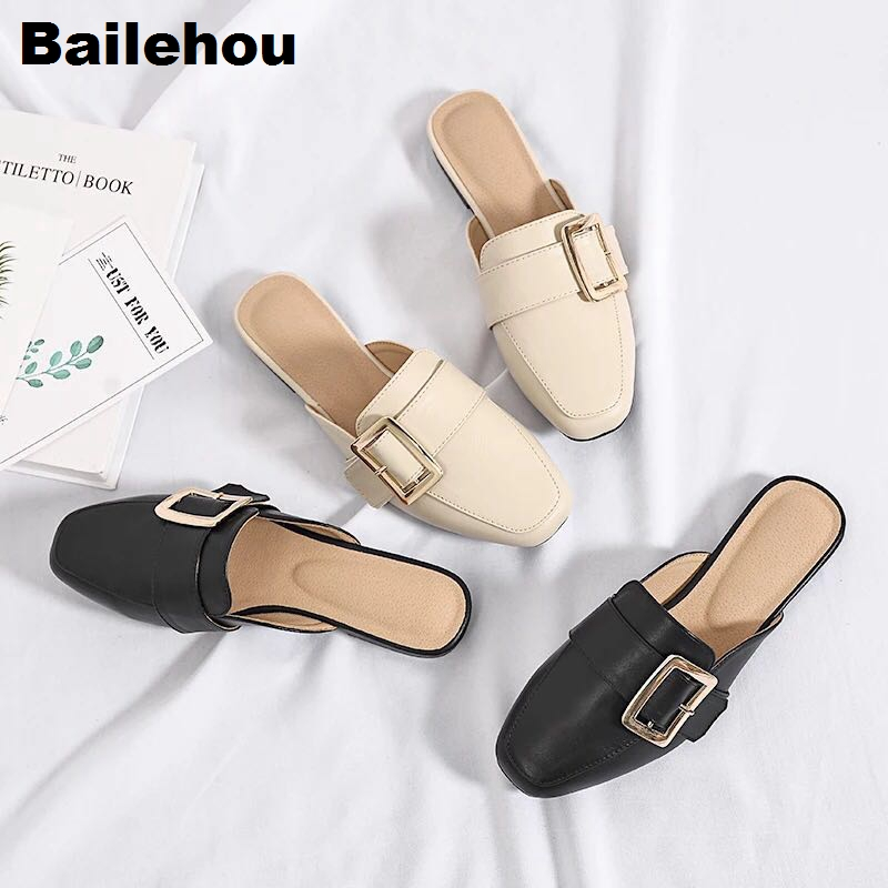 Women Slippers Flat Causal Mules Metal Buckle Platform Sandals Women Summer Shoes Big size 41-43 Slipper Low Heel Ladies Shoes