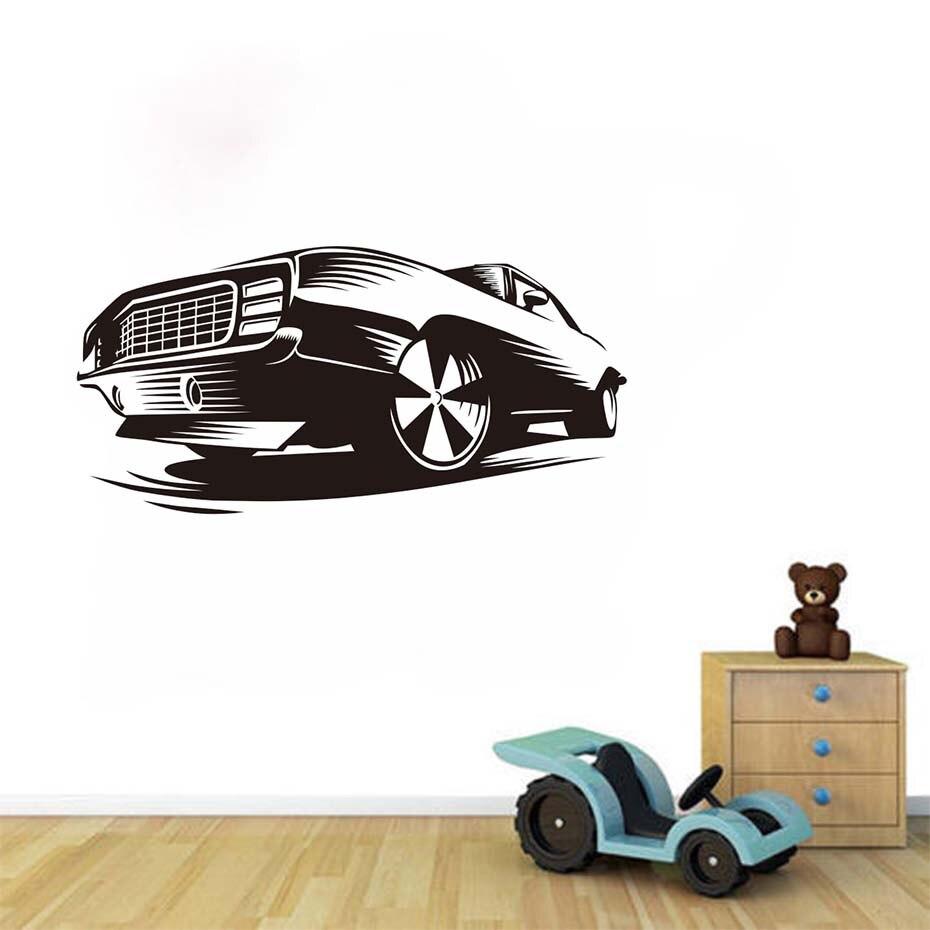 Race Muscle Car Wall Decals Decor Sticker Art Vinyl Mural Automobile  Beautiful Design Art Headboard Wall Stickers Home Decor  In Wall Stickers  From Home ...