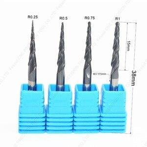 Image 1 - 3.175mm shank 1PCS, CNC węglika wolframu tialn stożkowe ball nose frez trzpieniowy, router do obróbki drewna bit, kulisty stożek frez