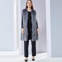 Silver fox Меховой жилет женский натуральный Лисий мех натуральный длинный мех Для женщин Щепка лисий мех жилет