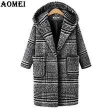 Зимнее шерстяное клетчатое пальто для женщин, манто размера плюс, верхняя одежда с капюшоном, однобортное, длинный рукав, шерсть, модный стиль
