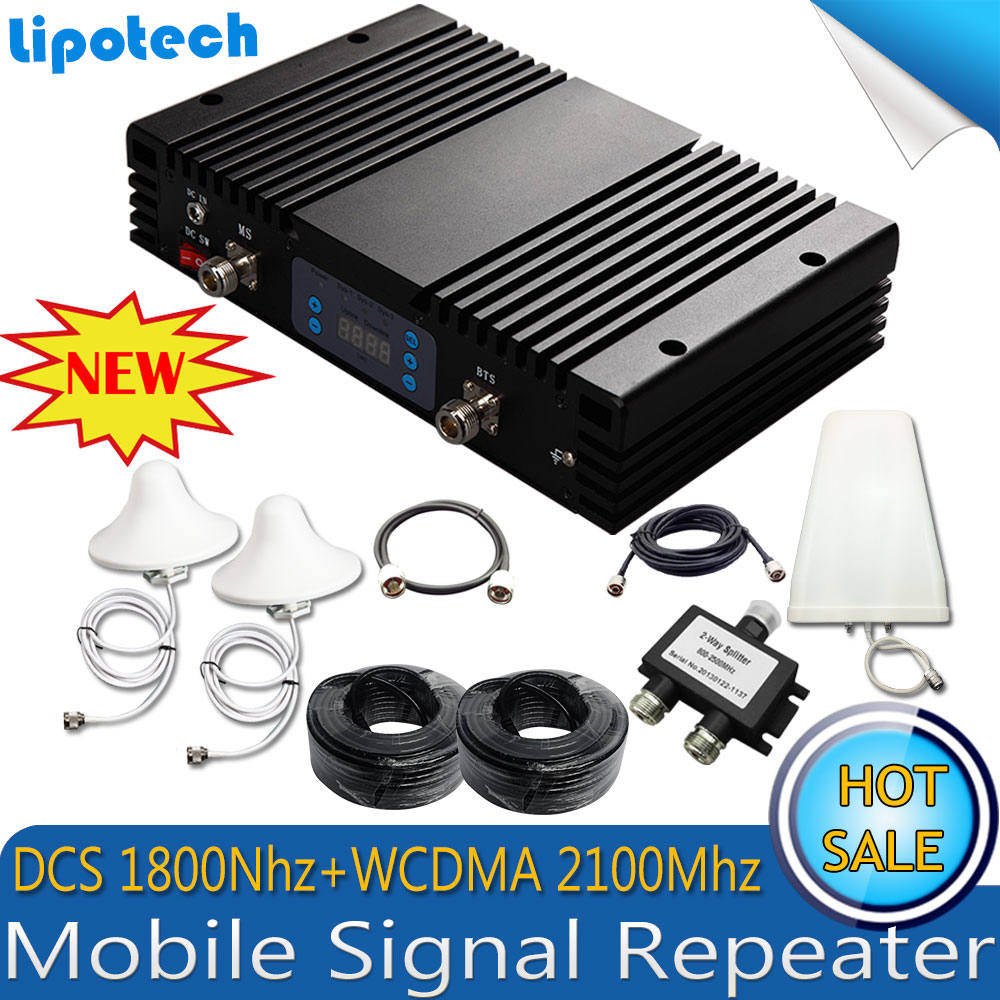 Kits 75dB Gain Mobile Signal Booster GSM 4G 1800Mhz 3G WCDMA 2100Mhz Cell SmartPhone Signal Repeater Celular DCS UMTS Amplifer