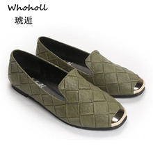 Whoholl Brand High Quality Flats Women Genuine Leather Shoes Handmade Comfort Loafers Leisure Womens Slipony 33-43