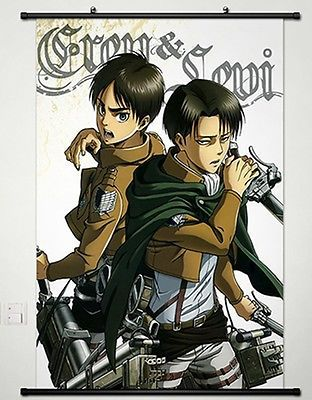 Home Decor Anime Attack on Titan Wall Scroll Poster Eren Jager & Levi 130