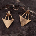 2016 Punk Gold and Silver Earrings Triangle Metal Stud Earrings brincos Big Brand Jewelry Women Lady XL0416 A2