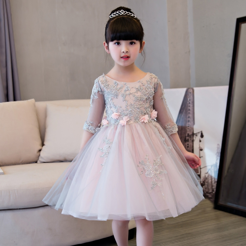 2019Luxury Children Girls Lace Princess Girl Communion Dress Bridesmaid Wedding Elegant Evening Party Pageant Pleated Dresses