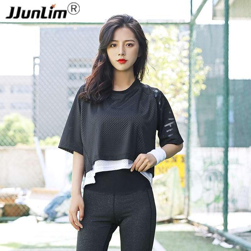 Women Mesh Yoga Top Shirts Short Sleeve Loose Sports Top T Shirts Quick Dry Women Gym Clothes Fitness Sport Running Tank Top