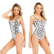 ECTIC 2019 Hot One Piece Swimsuit Women Dot Leopard Swimwear Vintage Retro Bathing Suits Bikinis Femme Monokini Swim Suit