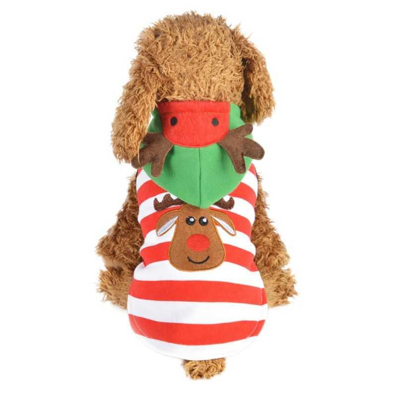 Рождественская Одежда для собак толстовки плюшевые рога Рождественский жилет свитер Одежда для маленьких собак эльф полосатый Pet Пальто