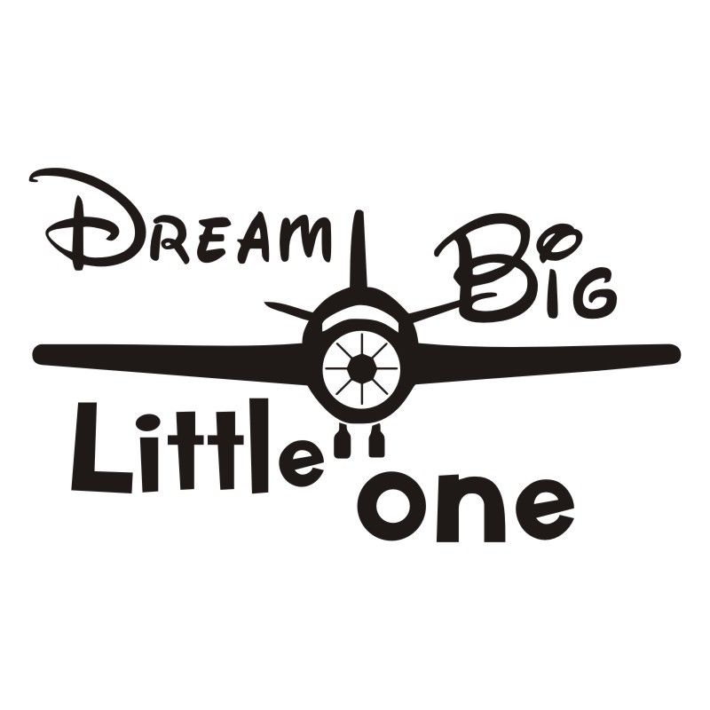 Cartoon Airplane Vinyl Wall Stickers Dream Big Little One