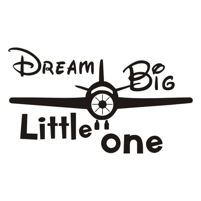 Cartoon Airplane Vinyl Wall Stickers Dream Big Little One Quotes Inspiration Airplane Quotes