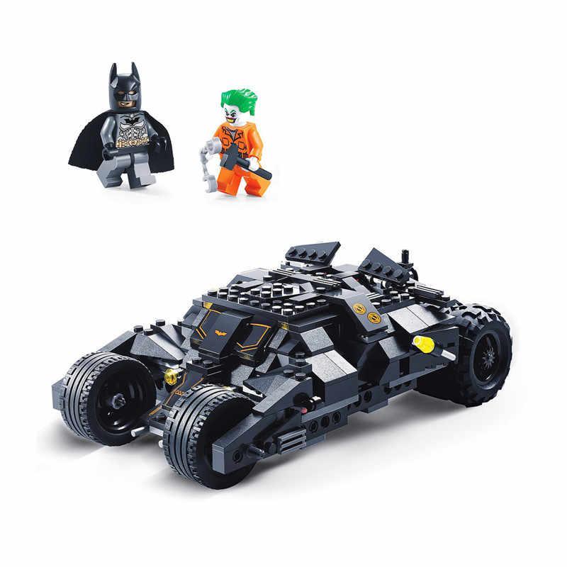 DC Superheros Бэтмобиль автомобиль Бэтмен Джокер Legoings 7888 модель строительные блоки конструктор развивающий игрушки для детей Рождественский подарок
