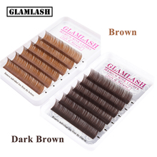 GLAMLASH Premium Brown Dark Eyelash Extension Individual Faux Mink Silk False Eye Lashes Makeup Cilios